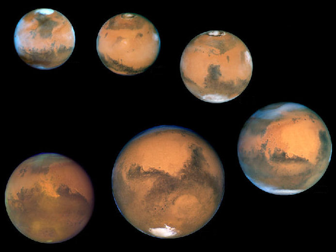 Multiple Views of Mars at Opposition, 1995-2005